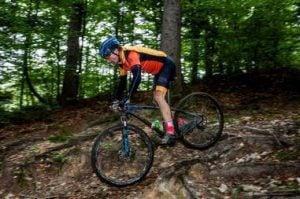 rowerzysta zjeżdża ścieżką leśną
